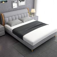 中派 床 北歐床實木布藝臥室雙人床 * 1.8*2.0標準床+床墊+床頭柜1個