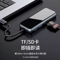 山澤 Type-c鏡面擴展塢USB-C轉HDMI/USB/PD充電多功能轉換器轉接頭 5合1-充電鏡面款