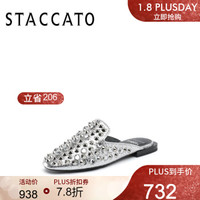 STACCATO X JEREMY SCOTT跨界合作款2019春季季鉚釘女拖鞋9D996AH9 銀色 35