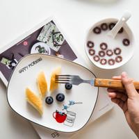 西餐盤創意家用陶瓷點心盤長方形早餐盤蛋糕碟創意北歐牛排盤子