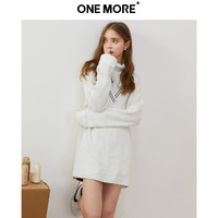 ONE MORE2019秋冬新款針織連衣裙V領高領毛衣法式甜美氣質女
