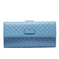 GUCCI 古馳 GUCCI錢包 女士藍色雙G壓紋牛皮短款拉鏈錢包 449423 BMJ1G 4503 *2件