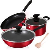 炊大皇鍋具套裝不粘炒鍋煎鍋湯鍋三件套裝鍋燃氣煤氣灶明火專用中國紅B49766