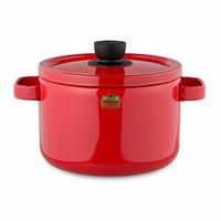 Honey Ware Solid 22厘米 深型蒸鍋 雙手鍋 FUJI HORO富士琺瑯 紅色 SD-22DW?R