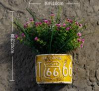 復古工業風墻面裝飾品創意墻壁壁掛花盆 小號黃色半圓組合