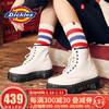 Dickies馬丁靴女靴 松糕厚底增高真皮亮面高幫靴子 秋冬新款194W50LXS6FH 白色 38 *2件