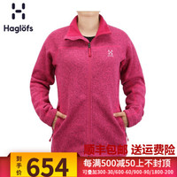 Haglofs火柴棍運動戶外女款全拉鏈加厚保暖抓絨夾克602277 歐版 2PM火山粉紅色 M *3件