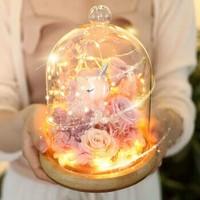 I'MHUAHUA3朵粉色玫瑰花永生花獨角獸繡球彩燈玻璃罩禮盒同城鮮花速遞生日情人節鮮花禮物送女生送女友