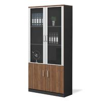 歐寶美文件柜定制儲物柜板式木質二門辦公室書柜文件柜深胡桃色