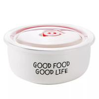 密封陶瓷保鮮圓碗簡約餐具微波爐加熱碗純色早餐沙拉泡面碗