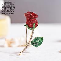 皇家莎莎胸針女紅玫瑰花朵仿水晶胸花別針領針時尚婚禮情人節生日禮物 *3件