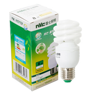 雷士照明(NVC)节能灯 E27大口螺旋8W4000K 冷白色(暖光 中间色)