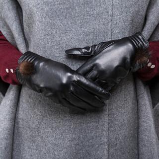 稻草人(MEXICAN)皮手套女式羊皮秋冬季开车骑车手套女士薄手套保暖MLST01181293BK01D黑