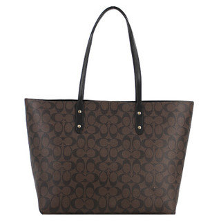 COACH 蔻驰 奢侈品 女士深棕色PVC手提肩背包 F76636 IMAA8