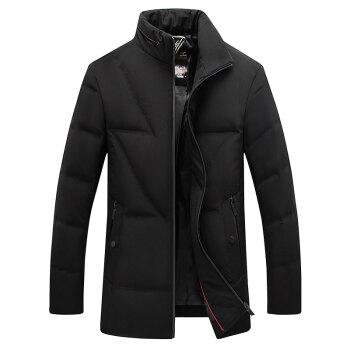 南极人2019新款轻薄款羽绒服男短款青年修身立领冬季保暖潮羽绒服外套 MDJ80150 黑色 180/96A