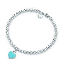 Tiffany&Co. 蒂芙尼 Return系列 26659604 蓝色珐琅心形吊坠手链