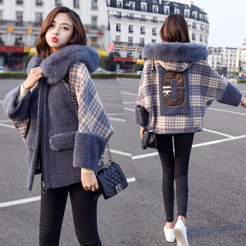 维迩旎 2019冬季新款女装新品短外套女时尚加厚毛领小个子宽松格子短外套 zx5B405-3661 蓝色 L
