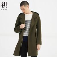 CHIN祺新款毛呢大衣男中长款羊毛夹克呢子外套双面呢大衣复古chic *3件