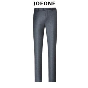 九牧王(JOEONE)男装 毛料西裤秋季男士商务西裤中年标准版长裤JA19501DT灰色180/96B[98]