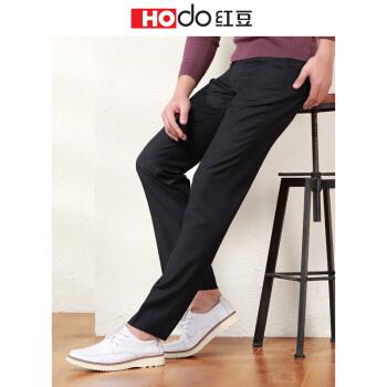 红豆(Hodo)男装 西裤男商务休闲男士纯色修身西裤 S5黑色 34