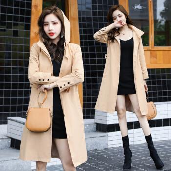 BANDALY 2019秋季新品女装风衣女中长款小个子外衣流行英伦风外套 GZZXFS9001 卡色 L