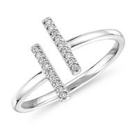 银联爆品日:Blue Nile 精巧分岔条形密钉钻石戒指