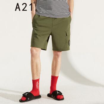以纯线上品牌A21 2019夏季新品男装 章仔潮男休闲裤子合体橡筋腰基础短裤 F492136023  橄榄绿 175/76A/L