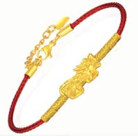 中国黄金 招财貔貅黄金转运珠手链