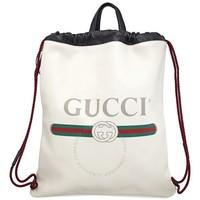 银联专享:GUCCI 古驰 Printed Logo Leather 双肩包
