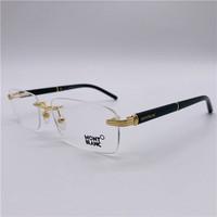 MontBlanc 萬寶龍 男女經典款精致無框眼鏡架 MB376 多色可選 030 Shiny Gold Black