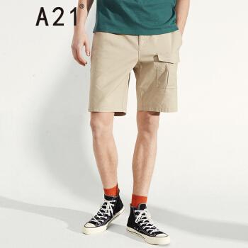 以纯线上品牌A21 2019夏季新品男装梭织弹力合体橡筋腰休闲短裤 R492116047 卡其 170/70A/M