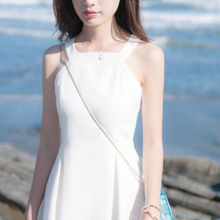 仙丫 2019夏季新款女装新品连衣裙女海边度假沙滩裙挂脖露肩仙女裙潮 zx3E323-8113 白色 XS