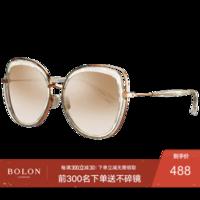 暴龍眼鏡女 高清偏光太陽鏡 新款明星款優雅大框墨鏡 BL6038 B90-鏡框玫瑰金/鏡片淺茶色反光