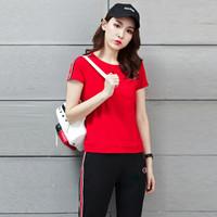 sustory 女装 2019时尚短袖长裤宽松大码两件套跑步休闲运动服套装女秋季 SUYH938 红色 L