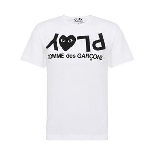 COMME DES GARCONS PLAY 川久保玲 男士白色logo印花图案棉质短袖T恤 AZT068 S码