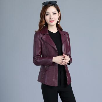 AUDDE 2019秋季新款女装新品仿皮皮衣女短款西装领韩版大码修身显瘦皮夹克外套 KKLFDSMDDY20 紫色 3XL