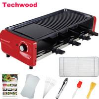 Techwood 電燒烤爐 不粘電烤盤家用無煙電烤爐烤串機鐵板烤肉鍋 天狐 GR-308 *7件
