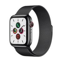 Apple Watch Series 5智能手表(GPS 蜂窝网络款 44毫米深空黑色不锈钢表壳 米兰尼斯表带 )