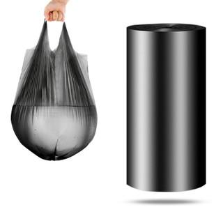 尚岛宜家 背心手提式垃圾袋 300只 中号加厚50*65cm*10卷 黑色 大分类垃圾袋 家用办公分类垃圾桶袋