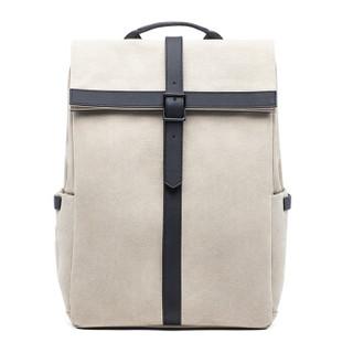 90分 笔记本电脑包15.6英寸  双肩包 休闲牛津背包 简约英伦风书包 米白色