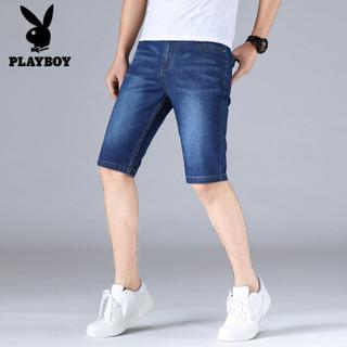 花花公子牛仔短裤男2019夏季新品五分裤休闲沙滩裤男士薄款工装短裤子 H8024蓝色 30