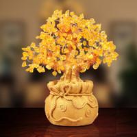 新年黃水晶發財樹擺件 招財樹搖錢樹