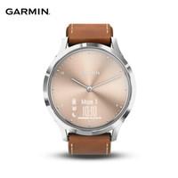 佳明(GARMIN)vivomove HR 指針隱藏式觸摸屏智能運動手表跑步腕表 小牛皮款 古典褐