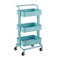 三層可移動置物架小手推車帶輪廚房儲物架ins宜家風拉斯克收納架