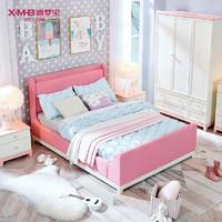 X.M.B 喜梦宝 简约软包布艺儿童床 1.2*2米