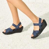 斯凱奇女鞋子 坡跟增高沙灘涼鞋沙灘鞋 干爽舒適女士涼鞋涼拖鞋