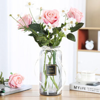 巧心師玻璃花瓶大號透明水培富貴竹百合條紋花瓶花盆花器假花客廳插花創意家居裝飾品擺件情人節禮物送老婆