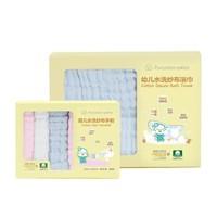 全棉時代 PurCotton 包邊款6層紗水洗紗布浴巾手帕組合 1條浴巾(藍色115*115cm)+6條手帕(藍粉白色25*25cm)