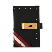 BALLY 巴利 ALIL W TR 40 6224636 女士黑色紅白條小牛皮卡片夾