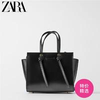ZARA新款 女包 黑色結飾迷你城市手提斜挎休閑包 18613004040